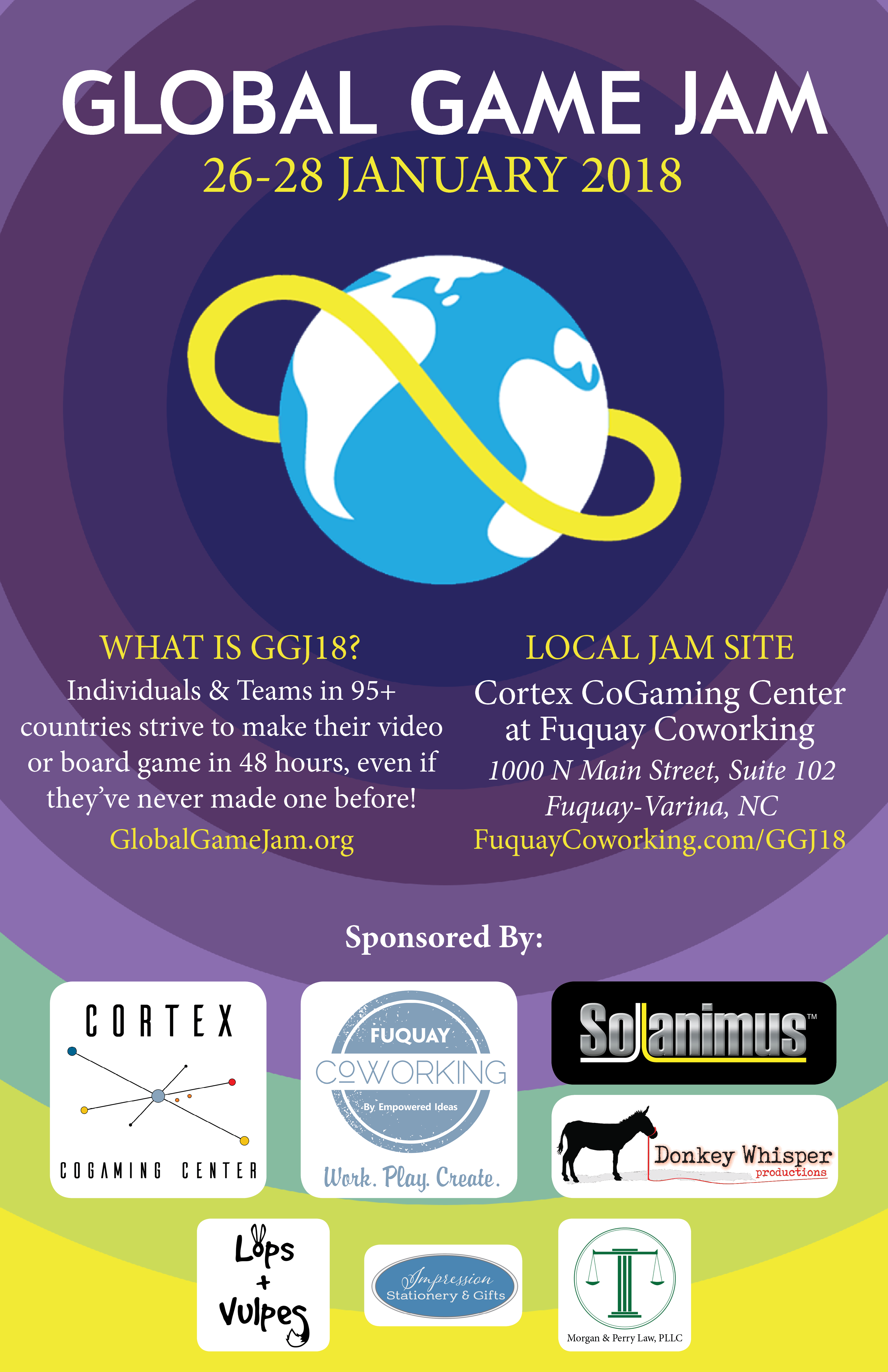 Global Game Jam 2018 at Fuquay Coworking and Cortex CoGaming Center