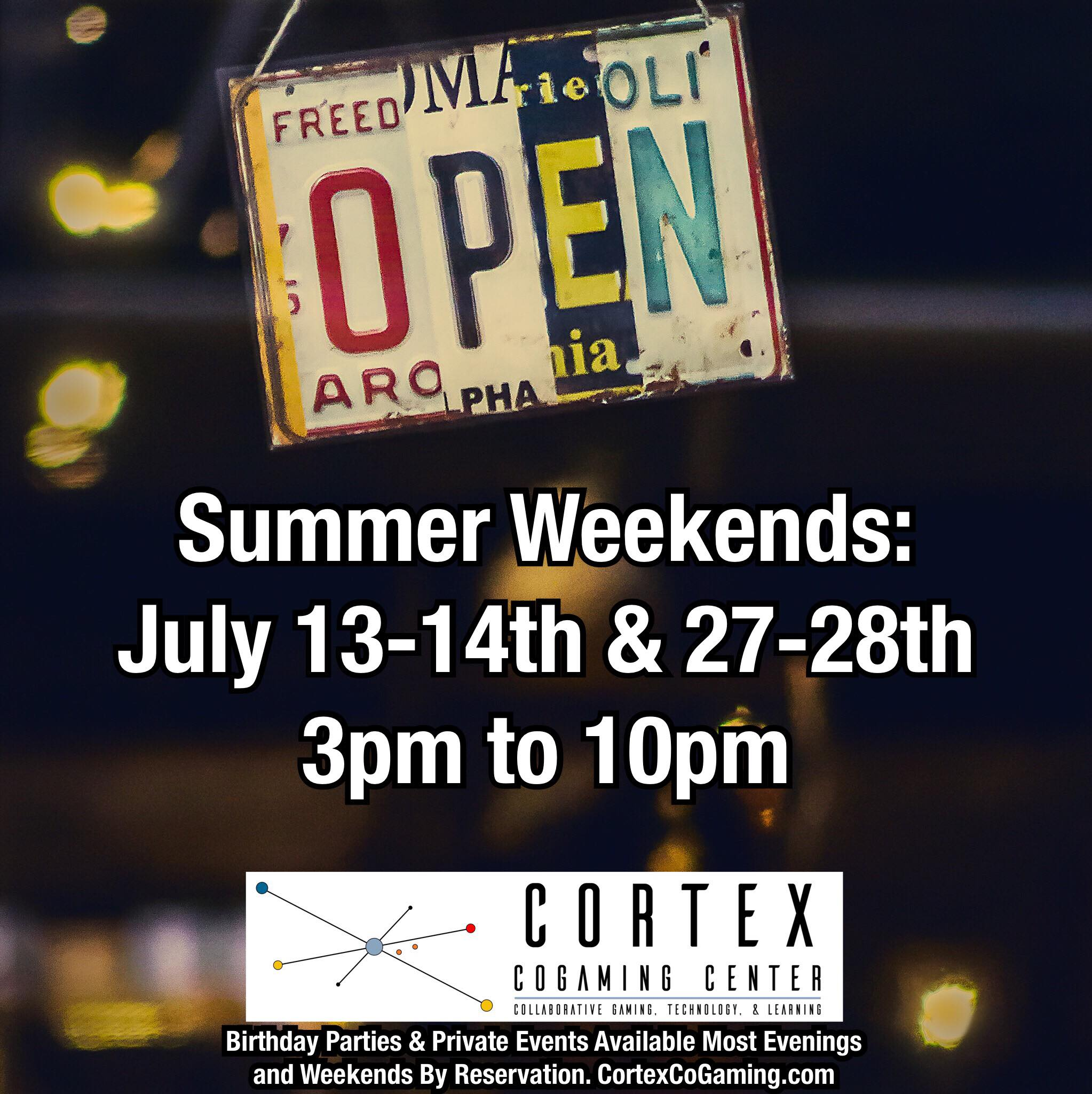 CORTEX COGAMING CENTER (AT FUQUAY COWORKING) ANNOUNCES SUMMER GAMING SCHEDULE