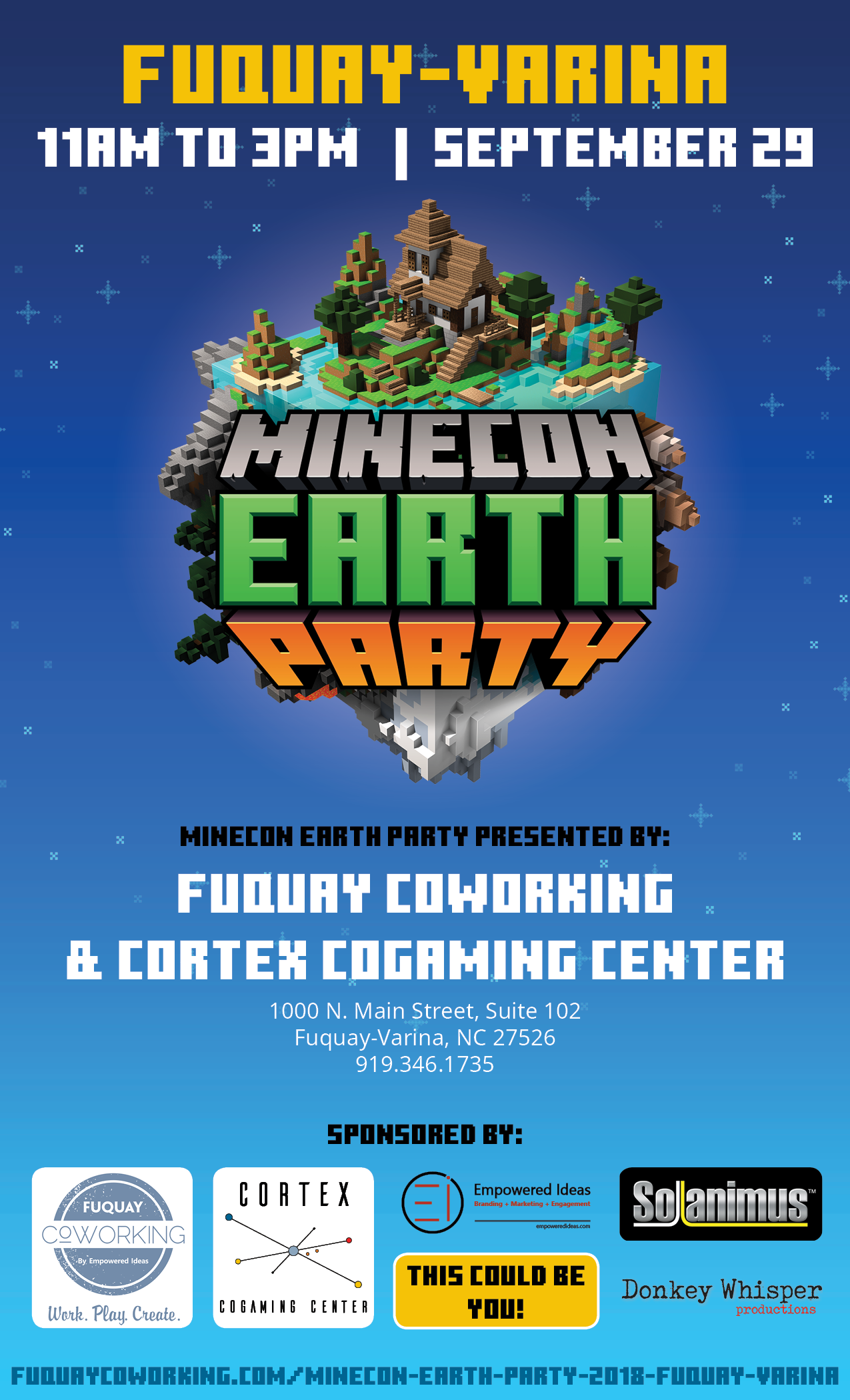 Official MINECON Earth Party, Presented By Fuquay Coworking and Cortex CoGaming Center in Fuquay-Varina, NC